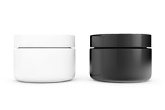 Black and White Cosmetic Containers Royalty Free Stock Images
