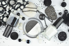 Black and white cosmetics Royalty Free Stock Image