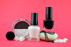 Black and white cosmetics Stock Photography