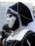 Black and white costume of Carnival, Venice Stock Photo