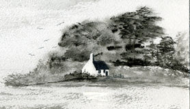 Black & White Cottage on an Island. A watercolour painting of a cottage Stock Photos