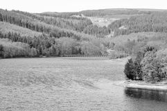 Black and White Countryside Scene. Black and White Lake and Countryside Scene Stock Image
