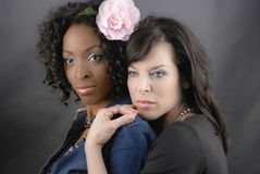 Black and White Couple. Two models pose as a lesbian couple Royalty Free Stock Photography