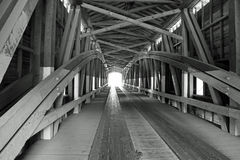 Black and White Covered Bridge. In Indiana Royalty Free Stock Photography