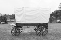 Black & White Covered wagon Stock Image