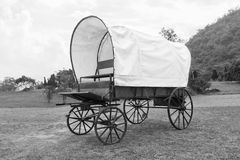 Black & White Covered wagon Royalty Free Stock Images