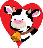 Black and White Cow on a Heart Royalty Free Stock Photo