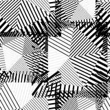 Black and white creative continuous lines pattern, contrast moti Stock Photo