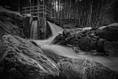 Black-and-white, Creek, Environment Royalty Free Stock Photography