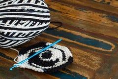 Black and white crochet potholder Royalty Free Stock Photography