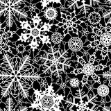 Black and white crochet snowflakes seamless pattern, vector. Background vector illustration