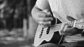 Person playing on little ukulele guitar. Black and white crop shot of man holding and playing on little acoustic ukulele guitar sitting in the outdoor park stock video footage