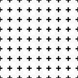 Black and White Crosses Seamless Pattern. Simple graphic look of black crosses or plus signs on white background seamless pattern Stock Photo