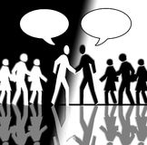 Black and White Crowd Shaking Hands 2. It's a black and white crowd that is running in opposite directions. In the center two man are shaking their hands. In the Stock Image