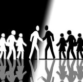 Black and White Crowd Shaking Hands. It's a black and white crowd that is running in opposite directions. In the center two man are shaking their hands Royalty Free Stock Photo
