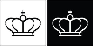Black and white crowns. Illustration Royalty Free Stock Photo