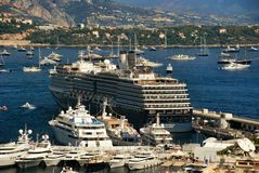 Black and white cruise liner in port of the Kingdom of Monaco Royalty Free Stock Photo