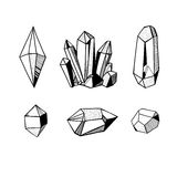 Black and white crystals and minerals. Hand drawn crystals set, black and white vector illustration with crystals and gems and minerals Stock Photo