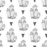 Black and white crystals minerals rocks hand drawn vector seamless pattern. Triangle hipster background with jewel Royalty Free Stock Image