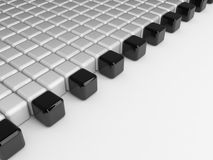 Black and white cubes background. 3d render of lots of black and white blocks Royalty Free Stock Image