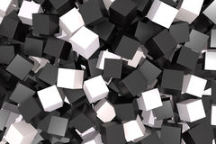 Black and white cubes. 3d rendering with black and white cubes Royalty Free Stock Image