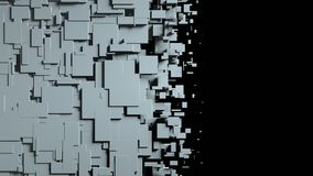 Black and white cubes screen wipe transition. 3D Royalty Free Stock Photos