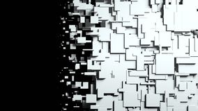 Black and white cubes screen wipe transition Stock Image