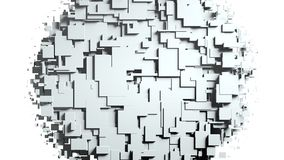 Black and white cubes screen wipe transition . White background. 3D animation Royalty Free Stock Photography