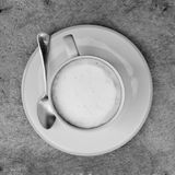 Black and White A cup of cafe latte Royalty Free Stock Photos