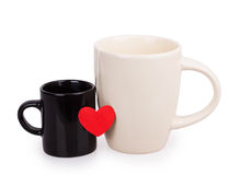 Black and white cup with red heart Stock Images
