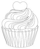 Black and white cupcake poster heart topping. Coloring book page for adults and kids. Comfort food vector illustration for gift card certificate banner sticker Stock Image