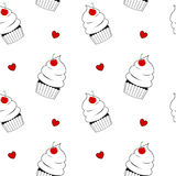 Black and white cupcake with red cherry cute seamless pattern background illustration Stock Photo