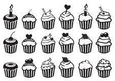 Black and White Cupcake Vector Icon Set. Set of eighteen variety of cupcake vector illustration in black and white  on white background Stock Photos