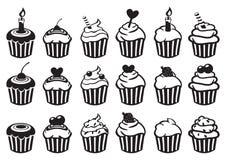 Black and White Cupcake Vector Icon Set Stock Photos
