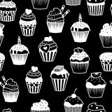 Black and white cupcakes pattern Stock Images