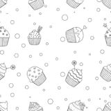 Black and white cupcakes pattern vector illustration