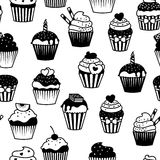 Black and white cupcakes seamless pattern Royalty Free Stock Image