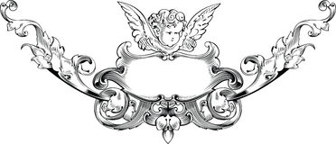 Black And White Cupid Heraldry. Stock Image