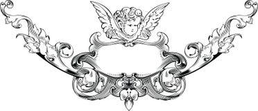 Black And White Cupid Heraldry. stock illustration