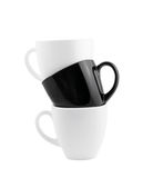 Black and white cups isolated Stock Image