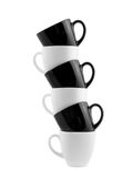 Black and white cups isolated Stock Photos