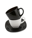 Black and white cups isolated Royalty Free Stock Image