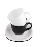 Black and white cups isolated Royalty Free Stock Photo