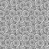 Curls monochrome seamless background. Black and white curled circles. Geometric seamless tile background Stock Photography