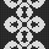 Black and white curtain lace geometric seamless texture background with cloverleaf pattern Royalty Free Stock Photo