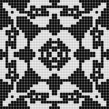Black white curtain lace square geometric seamless texture background with floral pattern Stock Image