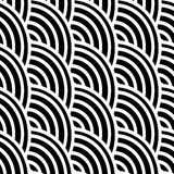 Black and white curved lines in a seamless pattern Stock Image