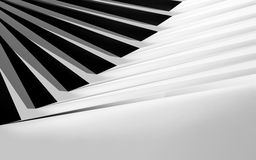 Black and white curved stairs installation, 3d. Abstract digital geometric background, black and white curved stairs installation, 3d illustration Stock Photography