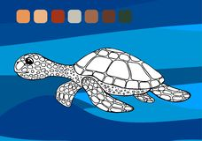 Black and white cute cartoon turtle. Coloring book for the children. Vector illustration royalty free illustration