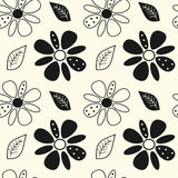 Black and white cute flowers seamless pattern background illustration Royalty Free Stock Images